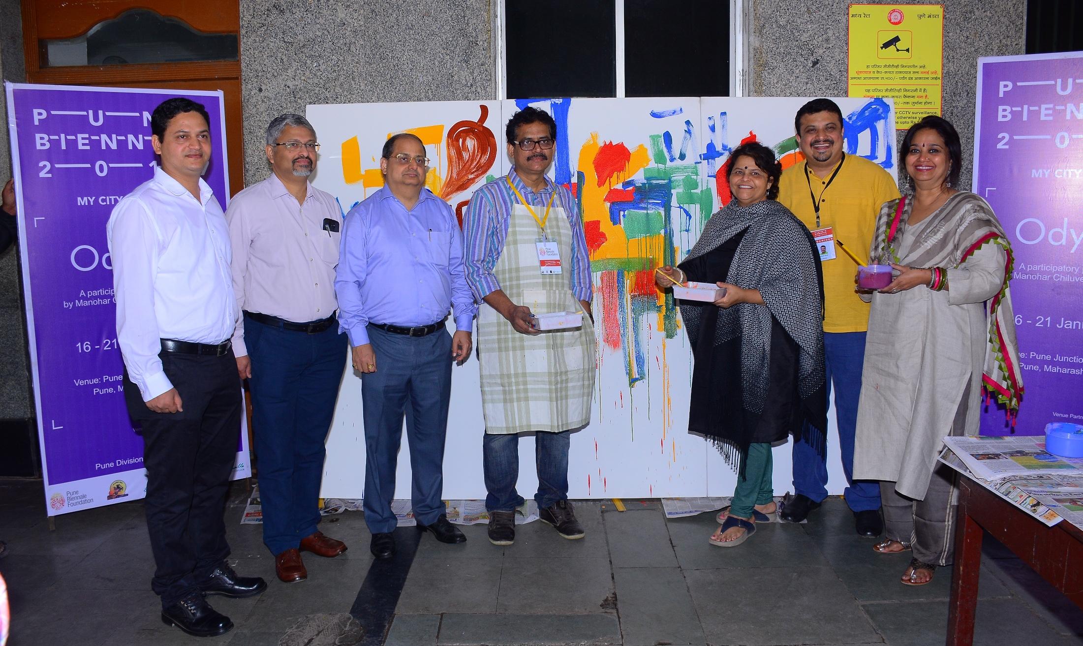 Railway officials inaugurating artist Manohar Chiluveru's Odyssey projec...